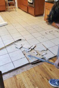 old tile floor demolition